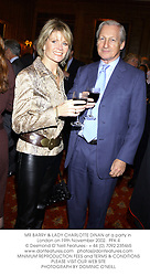 MR BARRY & LADY CHARLOTTE DINAN at a party in London on 19th November 2002.<br />PFK 4