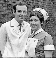 Gold medal winning nurses at Belfast City Hospital prizegiving, 2nd February 1970: James Patrick Sloan, from Kilkeel, Co Down, and Pauline Woods, Oldpark Road, Belfast, N Ireland. 197002020032<br />