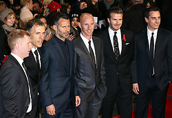 From left, Paul Scholes, Phil Neville,Ryan Giggs,  Nicky Butt , David Beckham and Gary Neville  at the The Class of 92 premiere in London, Sunday, 1st December 2013. <br /> Picture by Stephen Lock / i-Images