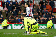 Brentford midfielder Jota (23) scores his 3rd goal (score 4-2) during the EFL Sky Bet Championship match between Brentford and Rotherham United at Griffin Park, London, England on 25 February 2017. Photo by Andy Walter.