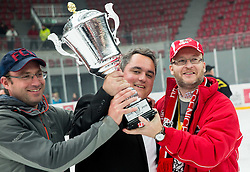 Anze Pogacar (C), president of Jesenice celebrate after winning during ice-hockey match between HDD SIJ Acroni Jesenice and HDD Telemach Olimpija in 4th leg of Finals of Slovenian National Championship 2014/15 and became Slovenian Champions 2015, on April 15, 2015 in Arena Podmezakla, Jesenice, Slovenia. Photo by Vid Ponikvar / Sportida