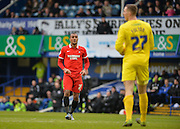 Leyton Orient Forward Jay Simpson and Portsmouth goalkeeper Ryan Fulton during the Sky Bet League 2 match between Portsmouth and Leyton Orient at Fratton Park, Portsmouth, England on 6 February 2016. Photo by Adam Rivers.