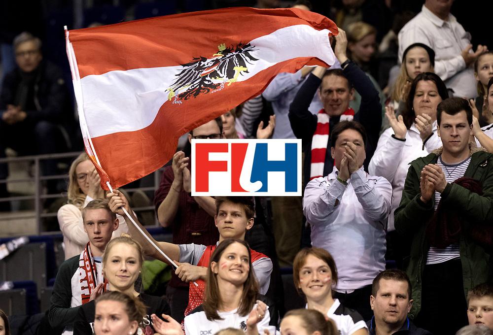 BERLIN - Indoor Hockey World Cup<br /> Quarterfinal 2: Austria - Poland<br /> foto: Austria fans.<br /> WORLDSPORTPICS COPYRIGHT FRANK UIJLENBROEK