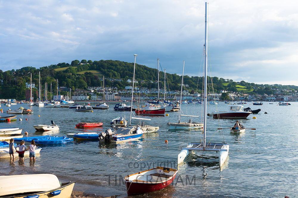 Boats in the harbour at coastal resort of Teignmouth in South Devon, England, UK
