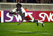 Photo ©Sportzpics 2007 - Rugby World Cup. England v Tonga. Paul Sackey dives over for an England try at the Parc des Princes, Paris, France. Friday 28 September 2007.