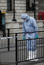 © Licensed to London News Pictures. 27/04/2017. London, UK. Police and forensics at the scene where a man was arrested carrying what is reported to be a bag carrying weapons, on Whitehall in Westminster, central London. Photo credit: Tolga Akmen/LNP