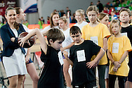 Children compete during athletics meeting Youth Pedro's Cup 2014 2014 at Luczniczka Hall in Bydgoszcz, Poland.<br /> <br /> Poland, Bydgoszcz, January 31, 2014.<br /> <br /> Picture also available in RAW (NEF) or TIFF format on special request.<br /> <br /> For editorial use only. Any commercial or promotional use requires permission.<br /> <br /> Mandatory credit:<br /> Photo by © Adam Nurkiewicz / Mediasport