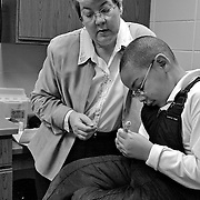A morning was spent with elementary school nurse, Sam Bastian. Sam is a full-time nurse at Bruce Guadalupe Charter School, which is in the Walkers Point section of Milwaukee.  Photo was taken January 24, 2005.  Photography by Melody Carranza.