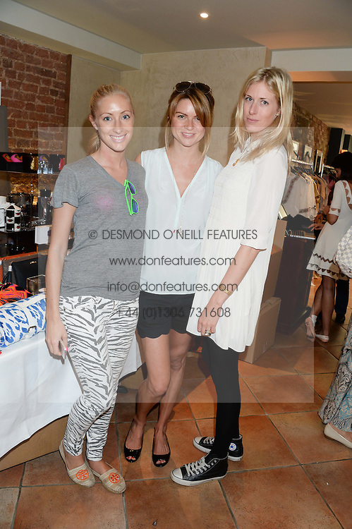 Left to right, EMMA PILKINGTON, GABBY PEACOCK and OPHELIA HOHLER at the Glamorous Girls Summer Sale and Park Walk Street Party, Park Walk, London SW10 on 27th June 2013.