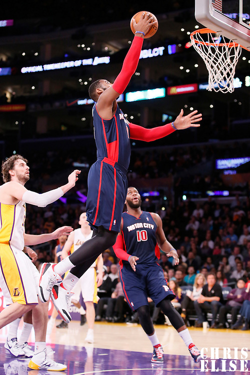 17 November 2013: Detroit Pistons center Andre Drummond (0) goes for the layup during the Los Angeles Lakers 114-99 victory over the Detroit Pistons at the Staples Center, Los Angeles, California, USA.