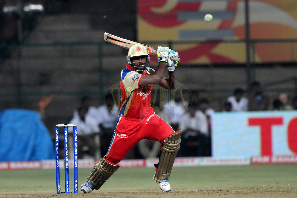 Abhimanyu Mithun of Royal Challengers Bangalore bats during match 1 of the NOKIA Champions League T20 ( CLT20 )between the Royal Challengers Bangalore and the Warriors held at the  M.Chinnaswamy Stadium in Bangalore , Karnataka, India on the 23rd September 2011..Photo by Pal Pillai/BCCI/SPORTZPICS