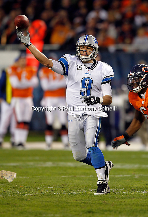 Detroit Lions quarterback Matthew Stafford (9) throws a pass during the NFL week 10 football game against the Chicago Bears on Sunday, November 13, 2011 in Chicago, Illinois. The Bears won the game 37-13. ©Paul Anthony Spinelli