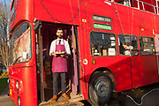 Tov Coffee Bus is located in an english double decker bus in SE Portland