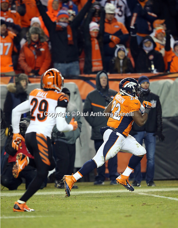 Denver Broncos running back C.J. Anderson (22) is chased by Cincinnati Bengals strong safety Leon Hall (29) as he runs down the sideline as he runs for a 39 yard touchdown good for a 17-14 Broncos lead during the 2015 NFL week 16 regular season football game against the Cincinnati Bengals on Monday, Dec. 28, 2015 in Denver. The Broncos won the game in overtime 20-17. (©Paul Anthony Spinelli)