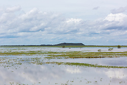 Floodplains surround Moulamen Hill on Liveringa Station in the Kimbeley wet season.