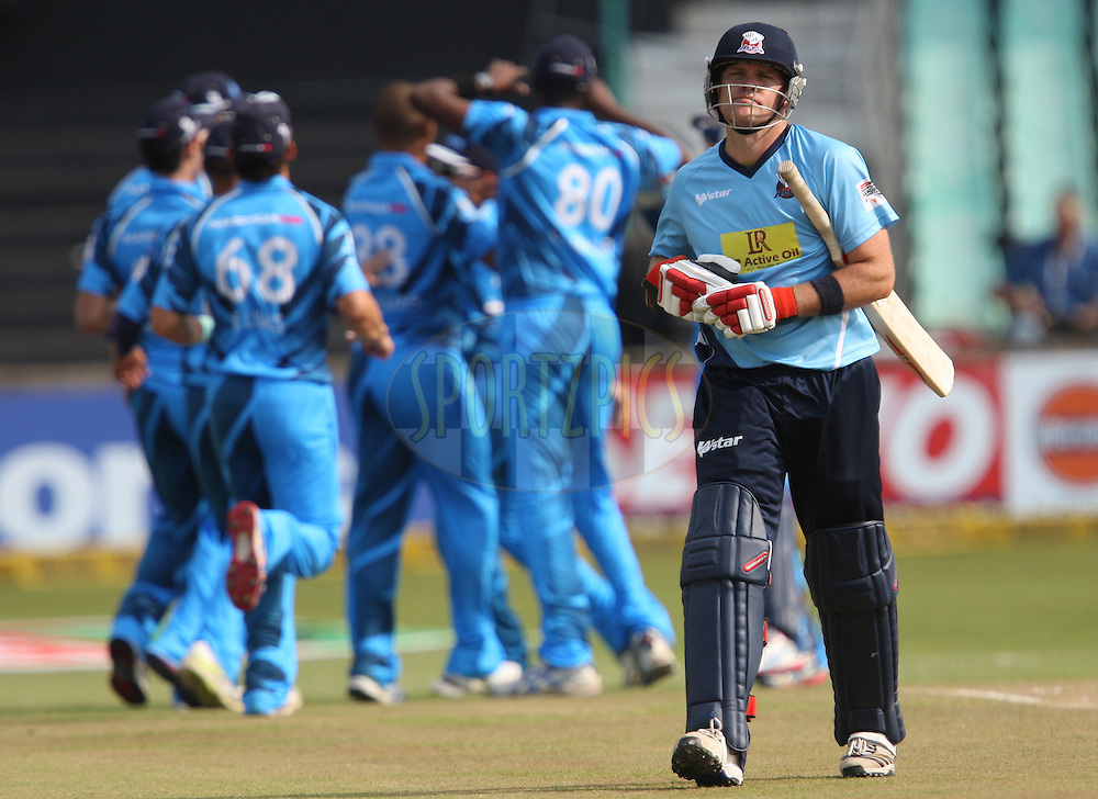 Lou Vincent is out during match 8 of the Karbonn Smart CLT20 South Africa between The Titans and The Auckland Aces held at Kingsmead Park in Durban, South Africa on the 17th October 2012..Photo by Steve Haag/SPORTZPICS/CLT20