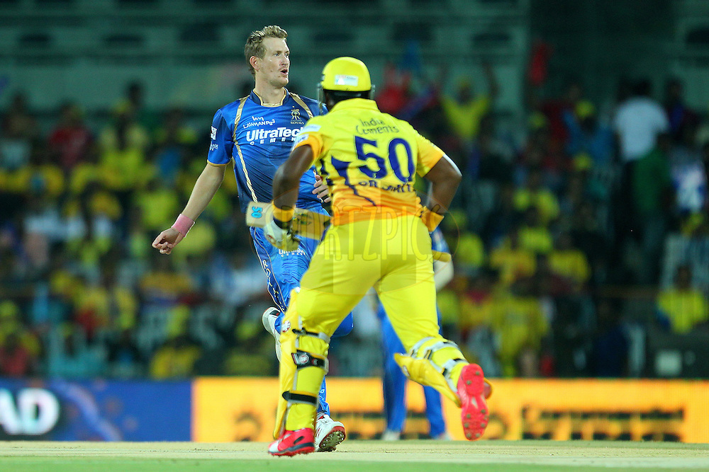 Christopher Morris of the Rajasthan Royals  during match 47 of the Pepsi IPL 2015 (Indian Premier League) between The Chennai Superkings and The Rajasthan Royals held at the M. A. Chidambaram Stadium, Chennai Stadium in Chennai, India on the 10th May 2015.<br /> <br /> Photo by:  Ron Gaunt / SPORTZPICS / IPL
