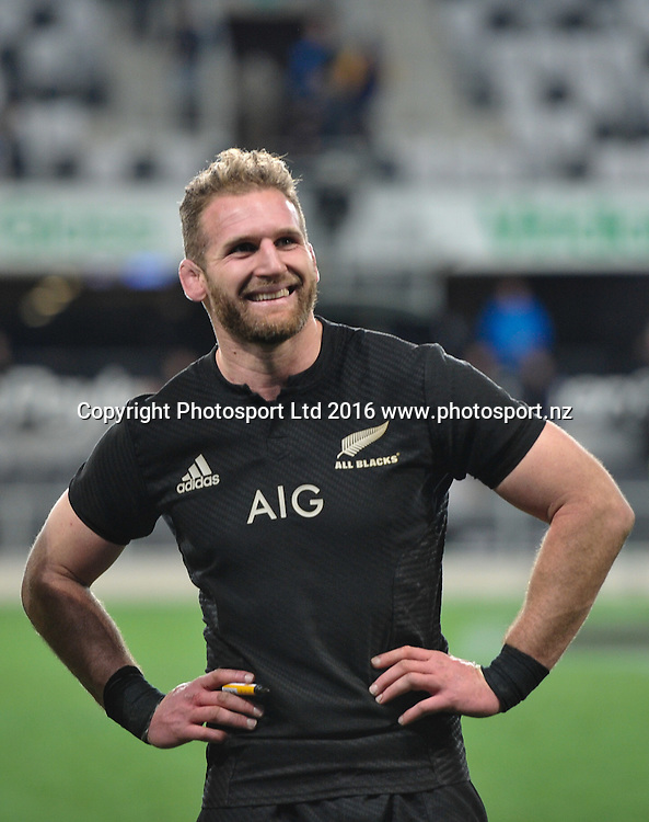 Kieran Read of the All Blacks happy after winning the 3rd Steinlager Series Rugby Union Test match, All Blacks v Wales, at Forsyth Barr Stadium, Dunedin, New Zealand. 25th June 2016. Copyright Photo: John Davidson / www.photosport.nz