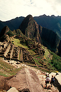 PERU, PREHISPANIC, INCA Machu Picchu; hikers on Inca Trail