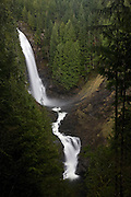 Wallace Falls is one of the tallest measured waterfalls in Washington's North Cascades. The top tier of this waterfall plunges 265 feet. The falls are named after Sarah Kwayaylsh, a native of the Skykomish tribe who homesteaded in the area near Goldbar, Washington.