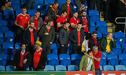 CARDIFF, WALES - Monday, October 9, 2017: Wales' fans react at the final whistle during the 2018 FIFA World Cup Qualifying Group D match between Wales and Republic of Ireland at the Cardiff City Stadium. (Pic by Peter Powell/Propaganda)