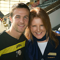 St Johnstone's Chris Millar pictured with Carole Dunn...30.09.11<br /> see story by Gordon Bannerman Tel: 07729 865788<br /> Picture by Graeme Hart.<br /> Copyright Perthshire Picture Agency<br /> Tel: 01738 623350  Mobile: 07990 594431