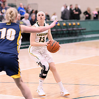 1st year guard Faith Reid (13) of the Regina Cougars in action during the Women's Basketball home game on January  19 at Centre for Kinesiology, Health and Sport. Credit: Arthur Ward/Arthur Images