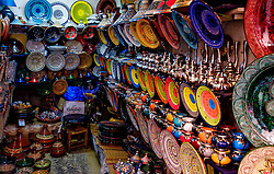 Decorative plates for sale in the Medina in Marrakech, Morocco, North Africa<br /> <br /> <br /> (c) Andrew Wilson | Edinburgh Elite media