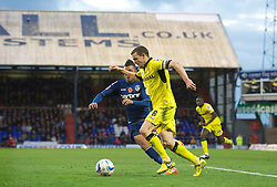 OLDHAM, ENGLAND - Saturday, November 10, 2012: Tranmere Rovers' captain James Wallace in action against Oldham Athletic during the Football League One match at Boundary Park. (Pic by David Rawcliffe/Propaganda)