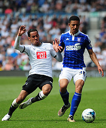 DERBYS TOM INCE SLIDES IN ON IPSWICH MYLES KENLOCK, Derby County v Ipswich Town, Championship, The ipro Stadium, Saturday 7th May 2016<br /> Photo:Mick Stacey