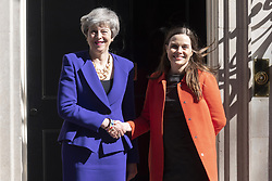 May 2, 2019 - London, UK - British Prime Minister THERESA MAY (L) meets Prime Minister of Iceland KATRIN JAKOBSDOTTIR (R) in No.10 Downing Street for talks. (Credit Image: © Ray Tang/London News Pictures via ZUMA Wire)