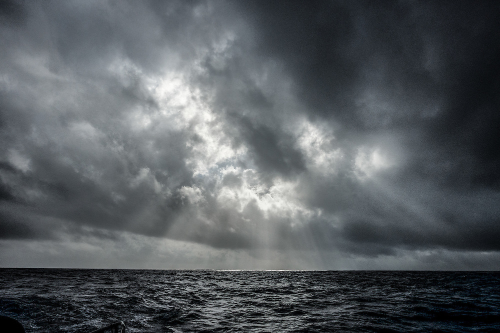 November 25, 2014. Leg 2 onboard Team SCA. The sun breaks through on a grey day.