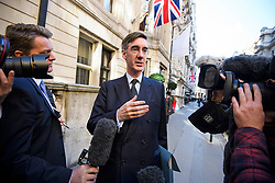© Licensed to London News Pictures. 24/09/2018. London, UK.  JACOB REES-MOGG arrives for an Alternative Brexit event, held by the IEA (Institute of Economic Affairs) in central London. Photo credit: Ben Cawthra/LNP