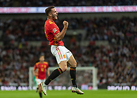 Football - 2018 / 2019 UEFA Nations League A - Group Four: England vs. Spain<br /> <br /> Saul Niguez (Spain) celebrates after scoring the equaliser for Spain at Wembley Stadium.<br /> <br /> COLORSPORT/DANIEL BEARHAM