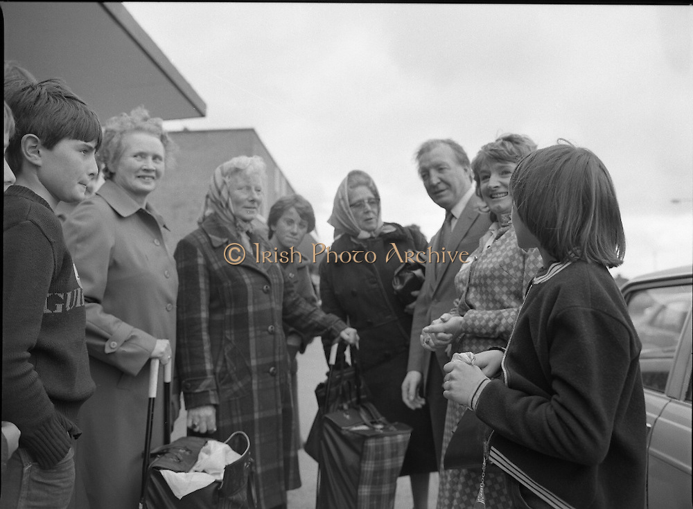 Taoiseach's Election Campaign.      (N77)..1981..23.05.1981..05.23.1981..23rd May 1981..On the 21st May the Taoiseach, Mr Charles Haughey, dissolved the Dáil and called a general election. Charles Haughey, Garret Fitzgerald and Frank Cluskey were leading their respective parties into a general election for the first time as they had only taken party leadership during the last Dáil..Fianna Fáil had hoped to call the election earlier, but the Stardust Tragedy caused the decision to be deferred...Picture shows Charles Haughey TD and Eileen Lemass TD on the campaign trail in Ballyfermot.