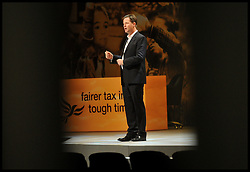 Deputy Prime Minister Nick Clegg and Leader of the Liberal Democrats rehearsing on stage for the start of the Liberal Democrat Party Conference in Brighton, Saturday September 22, 2012 Photo Andrew Parsons / i-Images..