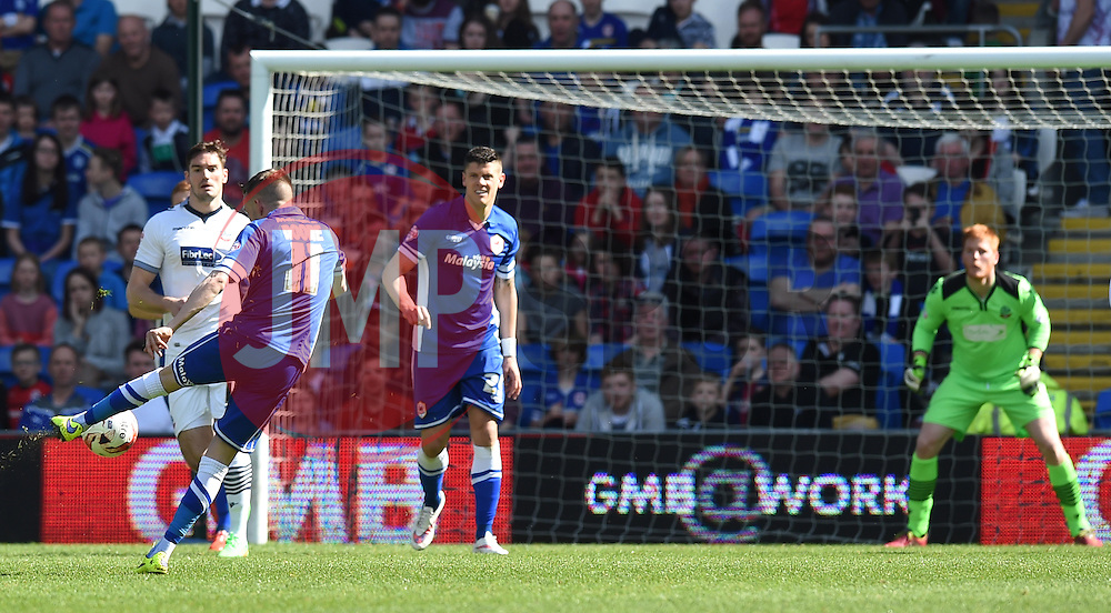 Cardiff City's Craig Noone takes  shot at the Bolton goal - Photo mandatory by-line: Paul Knight/JMP - Mobile: 07966 386802 - 06/04/2015 - SPORT - Football - Cardiff - Cardiff City Stadium - Cardiff City v Bolton Wanderers - Sky Bet Championship
