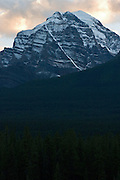 Mount Temple seen at sunset.  Banff National Park.