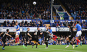 Kai Naismith heads over form a Portsmouth corner during the Sky Bet League 2 match between Portsmouth and Mansfield Town at Fratton Park, Portsmouth, England on 24 October 2015. Photo by Michael Hulf.