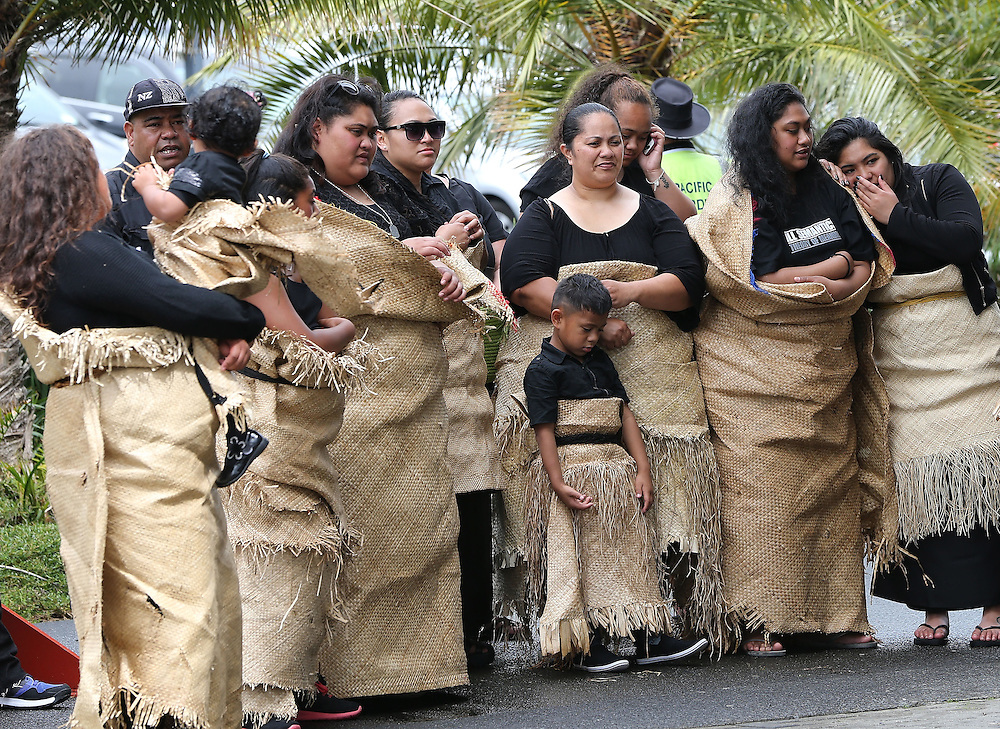 Mourners in traditional costume arrive at the `Aho Faka Famili, where  Pasifika communities celebrate the life of Jonah Lomu according to their traditions, Vodafone Events Centre, Manukau, Auckland, New Zealand, Saturday, November 28, 2015.   Credit:SNPA / David Rowland