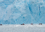 Expedition travelers aboard zodiac inflatable boats watch as a calving occurs at Garibaldi glacier national park in Chile.