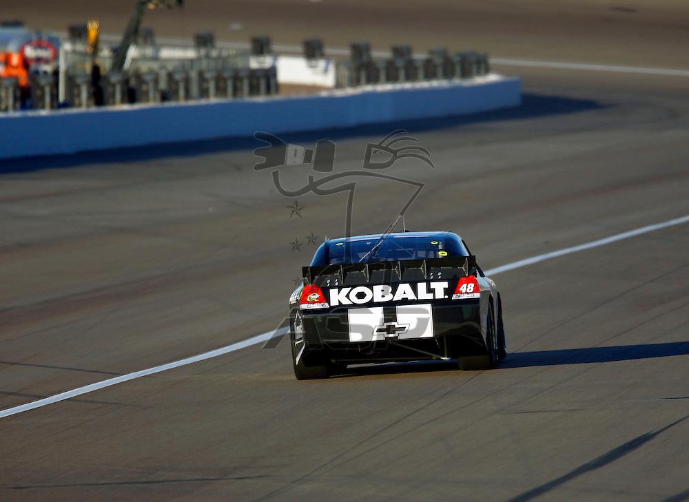 LAS VEGAS, NV - MAR 09, 2012:  Jimmie Johnson (48) qualifies for the Kobalt Tools 400 race at the Las Vegas Motor Speedway in Las Vegas, NV.