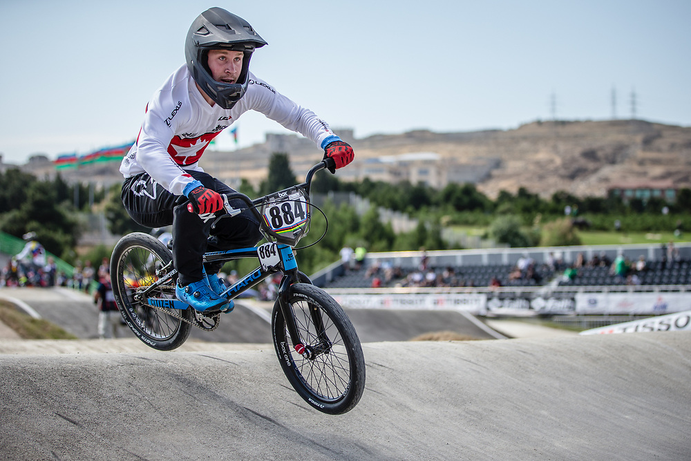 Men Elite #884 (SAMELLS Josh) CAN the 2018 UCI BMX World Championships in Baku, Azerbaijan.