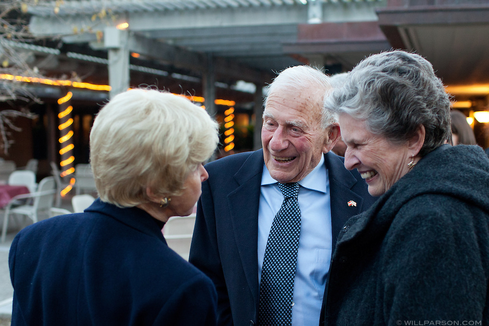 Walter Munk and Mary Coakley greet Audrey Geisel.