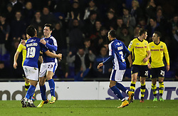 Oldham Athletic's Rhys Turner celebrates after scoring the opening goal  - Photo mandatory by-line: Matt McNulty/JMP - Mobile: 07966 386802 - 24/03/2015 - SPORT - Football - Oldham - Boundary Park - Oldham Athletic v Rochdale - SkyBet League 1