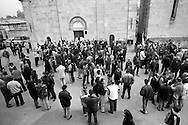 Birthplace of Benito Mussolini. Meeting of the anniversary of the march on Rome. Gathering of fascist sympathizers in front of the burial  Mussolini crypt ..