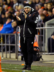 CAPTION CORRECTION, CORRECT CAPTION SHOULD READ: Blackpool Assistant Manager Gary Brabin gestures on the touchline during the Emirates FA Cup, third round match at Bloomfield Road, Blackpool.
