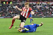 Leicester City's defender Robert Huth (6) and Duncan Watmore (14) Sunderland AFC striker  during the Premier League match between Sunderland and Leicester City at the Stadium Of Light, Sunderland, England on 3 December 2016. Photo by Ian Lyall.