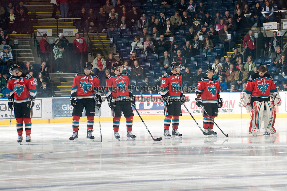 KELOWNA, CANADA, NOVEMBER 9: The Kelowna Rockets starting lineup stands on the ice during the national anthem as the Red Deer Rebels visit the Kelowna Rockets  on November 9, 2011 at Prospera Place in Kelowna, British Columbia, Canada (Photo by Marissa Baecker/Shoot the Breeze) *** Local Caption ***