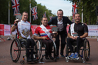 The Winners of the mens Hand cyclist  Race on the podium during The Prudential RideLondon <br /> Sunday 2nd August 2015. <br /> <br /> Prudential RideLondon is the world's greatest festival of cycling, involving 95,000+ cyclists – from Olympic champions to a free family fun ride - riding in five events over closed roads in London and Surrey over the weekend of 1st and 2nd August 2015. <br /> <br /> Photo: Paul Gregory<br /> <br /> See www.PrudentialRideLondon.co.uk for more.<br /> <br /> For further information: Penny Dain 07799 170433<br /> pennyd@ridelondon.co.uk